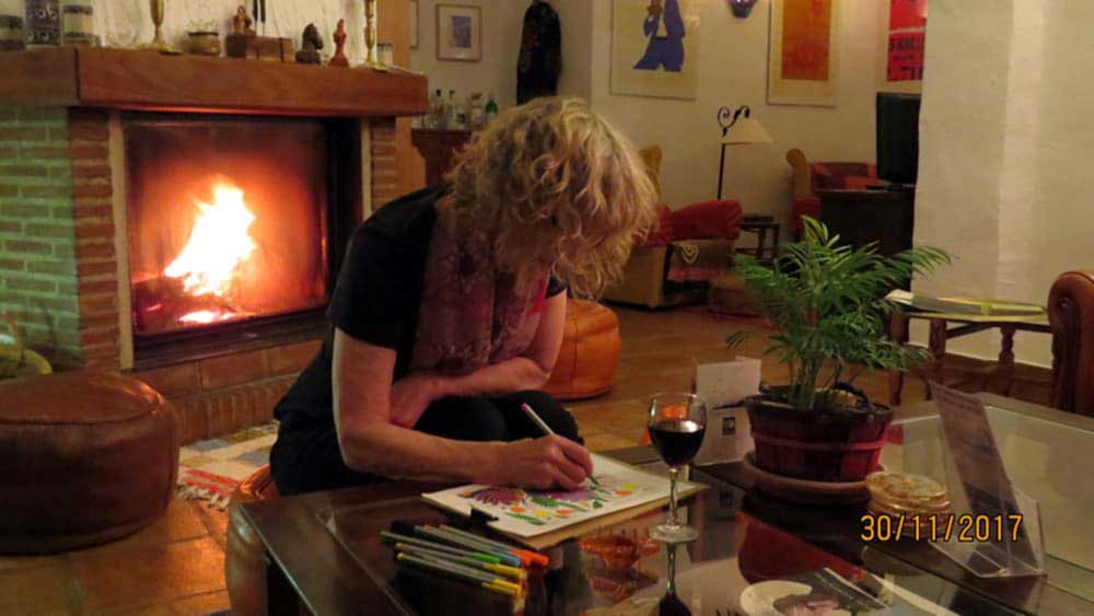 colouring for grownups at a hotel near Ronda